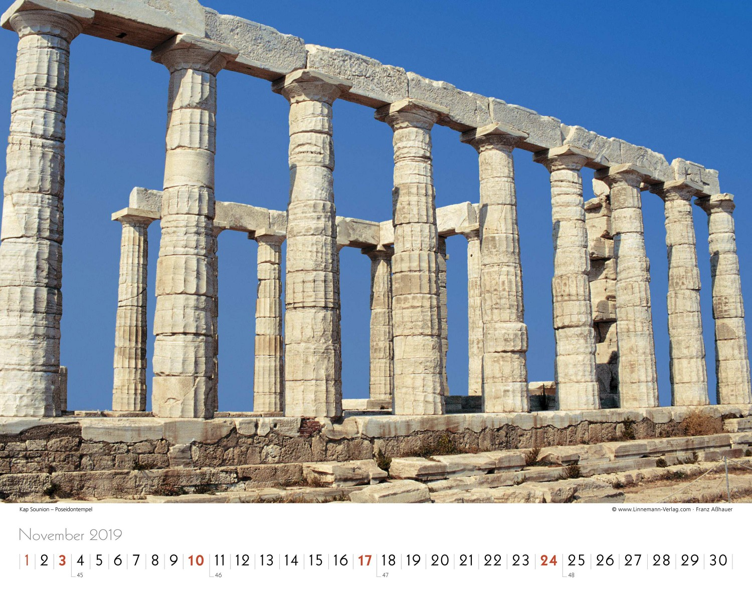 wall calendar greece 2019